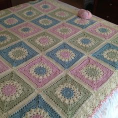 Very special blanket to go on my daughters bed when she moves out of the cot. Aiming for 24 squares ( love that they are big squares)….. 6 down! 7/6/12 ~ decided to make it a bit bigger to fit a ...