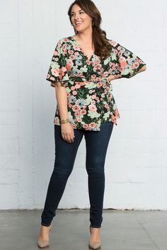 NEW! Our Chic Chiffon Blouse in Kimono Floral Print instantly dresses up denim for a cute spring and summer outfit! Made in the USA. www.kiyonna.com