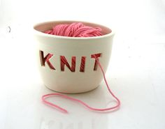 Knit bowl, Yarn bowl, knitting bowl, gift for knitter, crochet wool knitting supplies No 36