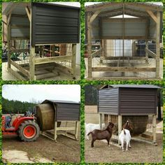 Goat round bale feeder - hay covered roof dry rain rot spoilage Caprine roll - USE SMALLER WIRE THAN IN PICTURE - Recommend 4x4