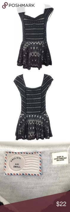 """Anthropologie Postmark Eyelet Lace Black Peplum S Anthropologie Postmark Women's Black Peplum Top. Size Small. Very feminine Black Eyelet lace lined with white. Made of Cotton Polyester Blend. Great condition with no rips or stains. Please see measurements and pictures for details.  Underarm to Underarm 15"""" Anthropologie Postmark Tops Blouses"""