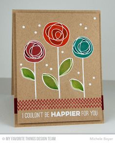 handmade card by Michele Boyer ... kraft ... white embossed scribble circle flowers colored with markers ... luv the look! ...My Favorite Things