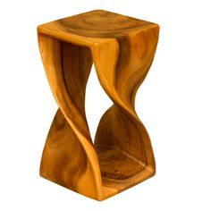 Monkey Pod Twist Stool (Large - Honey Waxed Finish)