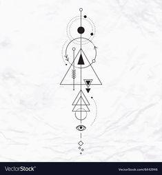 Modern geometric alchemy symbol vector image on VectorStock Cute Tattoos, Body Art Tattoos, Hand Tattoos, Small Tattoos, Sleeve Tattoos, Tatoos, Tattoo Mama, Alchemy Tattoo, Coordinates Tattoo