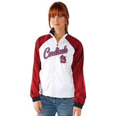 Women's St. Louis Cardinals Track Jacket ($56) ❤ liked on Polyvore featuring activewear, activewear jackets, crd white, tracksuit jacket, track jacket, warm up jacket and track top