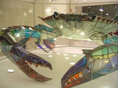 stained glass blue crab @ bwi   dim8np via flickr