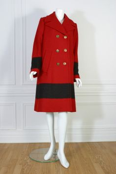 GUCCI, Red and black woolen coat, circa 2000