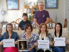 Sister(& family) of Mary Sherlach, school psychologist killed at #Newtown, have a message for the Senate.