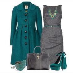 Teal coat & gray dress... So nice for work