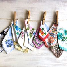 13 Old Fashion Floral Print Handkerchiefs