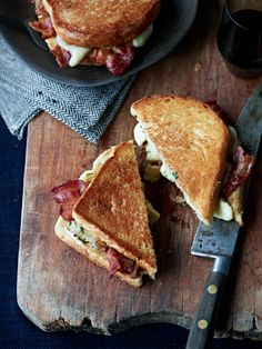 Food Photography: Sandwich presentation. Grilled Cheese-and-Bacon Sandwiches with Cheese Curds Recipe.