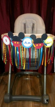 Mickey mouse high chair banner I made for my son's first birthday