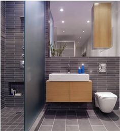 this layout is the perfect remodel for a standard bathroom.....love