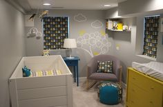 clouds and birds, blue, gray and yellow baby's room nursery from the Koo's. lovely.