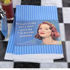Never Wrong Vintage Ephemera Dish Towel | Funny Kitchen Towels | RetroPlanet.com #humor #kitchen #retro
