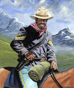 "John W. Jones Limited Edition Fine Art Print :""Buffalo Soldier on Patrol"" Artist: John W. Jones Title: Buffalo Soldier on Patrol Image Size : 21 x Edition: Limited Edition Description: All Prints are American Indian Wars, African American History, Native American, Cow Girl, Caricatures, Bob Marley, Black History Inventors, Diorama, Black Cowboys"
