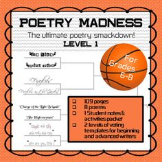 Practice your free throws and get ready to rumble! It's a poetry tournament to end all boring poetry units. Poems are paired up by theme, type, and literary devices in this March Madness style tournament. After each battle, students cast their vote for