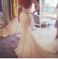 Beautiful drape back, sexy but classy wedding dress