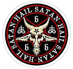 Occult Hail Satan Baphomet in Pentagram Sticker