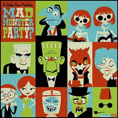 It's a Mad Monster Party. Halloween ain't over yet! Did this piece for the upcoming Creature Double Feature show which opens this Friday. Halloween Poster, Halloween Art, Vintage Halloween, Halloween Pictures, Monster Mash, Monster Party, Frankenstein's Monster, Pin On, Classic Monsters
