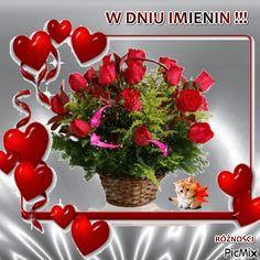 W DNIU IMIENIN Birthday Greetings, Happy Birthday, Flowers Gif, Beautiful Roses, Pictures, Roses, Happy Brithday, Photos, Urari La Multi Ani