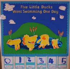 Five Little Ducks Classroom Display Photo Nursery Rhymes classroom displays – go to website for more. Preschool Displays, Literacy Display, Classroom Display Boards, Display Boards For School, Teaching Displays, Class Displays, Number Display Eyfs, Reception Classroom Ideas, Eyfs Classroom