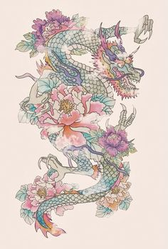 beatiful dragon and flower tattoo