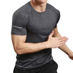 Mens Casual Quick-drying Breathable Sport T-shirt Reflective Stripe Fitness O-neck Jogging Tops Tees at Banggood Hipster Outfits Men, Casual Shirts For Men, Men Casual, Formal Men Outfit, Mens Winter Coat, Latest Mens Fashion, Sport T Shirt, Summer Fall, Bodybuilding