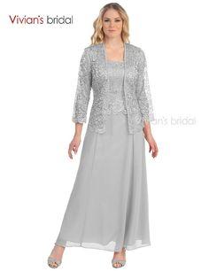 dfc4e25b0b1 silberhochzeit · Vivians Braut Spitze Mutter der Braut Kleider mit Jacke  Chiffon A-linie Dreiviertel Perlen mutter