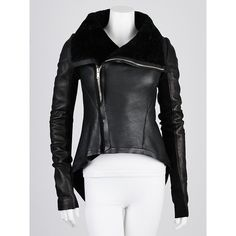 Pre-owned Rick Owens Black Lambskin Leather and Shearling Peplum... ($1,600) ❤ liked on Polyvore featuring outerwear, jackets, funnel neck jacket, zip jacket, lambskin leather jacket, zipper jacket and black jacket