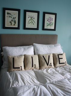 Letter Pillows - LIVE (home decor, pillows, scrabble, tiles, letters, fabric, beige, black)
