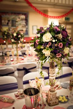 Lovely rustic purple centerpieces