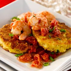 Ancho Shrimp on Smoked Gouda Corncakes ~ Grand Prize Winning Recipe from Tennessee's National Cornbread Cook-Off