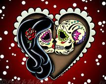 Ashes to Ashes - Day of the Dead Sugar Skull Couple Art Print - 8 x 10 ...