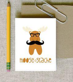 moose-stache moose mustache doodle card hipster totem animal in glasses via Etsy