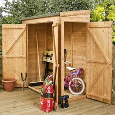 Buy quality wooden sheds at Waltons. Our wooden garden storage range includes apex & pent sheds, plus a huge choice of size & cladding options. Small Shed Plans, Small Sheds, Diy Shed Plans, Storage Shed Plans, Bike Storage, Tool Storage, Outdoor Storage, Storage Ideas, Small Storage