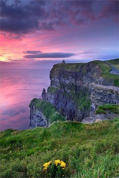 Cliffs of Moher, Ireland ....On the top of the Cliff...is a small Fort..On the edge, of the Cliff, you can lay on you stomach and look down to the water, Far......Far....below....If you have Heart......that is....I could not do it......I just could not do it, .but the best of ...good luck. to you...   cecbaldwin.@yahoo.com