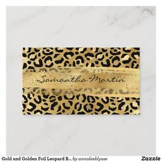 Gold and Golden Foil Leopard Brush Stroke Business Card Online Gifts, Zazzle Invitations, Brush Strokes, Butcher Block Cutting Board, Business Cards, Personalized Gifts, Create Yourself, Recycling, Anna Lee