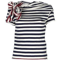 Y'S striped t-shirt (35.920 RUB) ❤ liked on Polyvore featuring tops, t-shirts, shirts, blusas, white stripes shirt, white stripes t shirt, stripe t shirt, white striped shirt and striped shirt