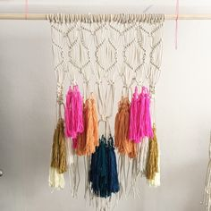 Macrame wall hanging with colored tassels, littlepincushionstudio.com
