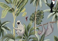 CUSTOM Monkey wallpaper Monkeys Wallpaper monkeys | Etsy Monkey Wallpaper, Nursery Wallpaper, Animal Wallpaper, Bathroom Wallpaper, Illustration Singe, Motif Jungle, Tropical Wallpaper, Forest Wallpaper, Woodland Nursery Decor