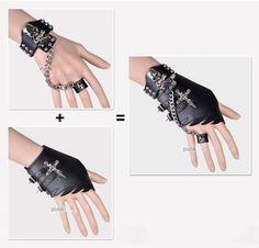 †❤✝☮✿★ PUNK FASHION ✝☯★☮❤† Punk Skulls Leather Gloves Wristband - Gloves