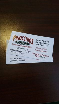 2 Pinocchios Pizza vouchers for a Large 2-Topping Pizza. Valued at $30.00-Bidding starts at $5.00