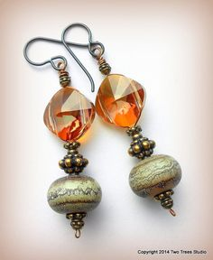Caramel Desert: Petite crystal and lampwork glass earrings with a vintage vibe. By Two Trees Studio, $36.00.