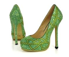 Expensive sparkle green heart heels