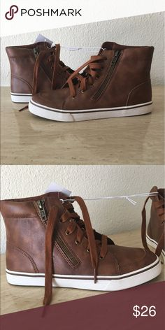 Brown tan sneakers Brown tan sneakers. Size 4 for kids 6 for ladies. NWT Cat @ Jack Shoes Sneakers