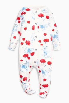 Buy Red/Blue Poppy Print Sleepsuits Three Pack (0mths-2yrs) from the Next UK online shop
