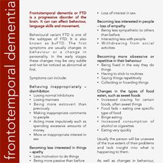Frontotemporal dementia or FTD is a progressive disorder of the brain. It can affect behaviour, language skills and movement. Behavioural variant FTD is one of the subtypes of FTD. It is also known as bvFTD. The first symptoms are usually changes in behaviour or a change in personality. In the early stages these changes may …