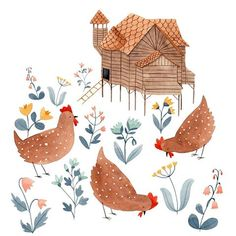 I think I just wanted to draw an overly elaborate chicken coop.  .  .  .  #illustration #drawing #painting #art #artwork #watercolor #watercolorillustration #gouacheillustration #gouache #illustratorsoninstagram #draw #illustrate #instaart #instaartist #art #artistsoninstagram  #childrensillustration