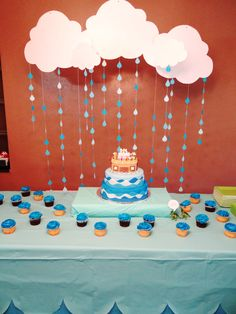 Noah's Ark Themed Baby Shower Cake Table